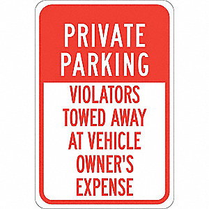 "Parking, Private Parking, Aluminum, 18"" x 12"", With Mounting Holes, Not Retroreflective"