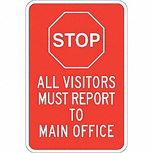 "Employees and Visitors, Stop, Aluminum, 18"" x 12"", With Mounting Holes, Not Retroreflective"