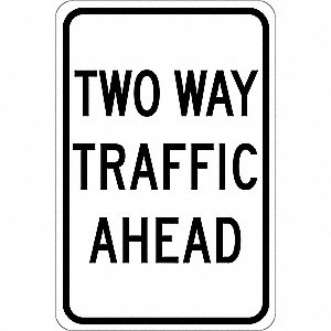"Road Traffic Control, No Header, Polyester, 18"" x 12"", Adhesive Surface, Not Retroreflective"