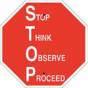 "Safety Incentive and Motivational, Stop, Plastic, 24"" x 24"", With Mounting Holes"