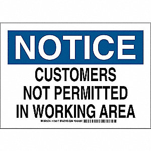 "Employees and Visitors, Notice, Polyester, 7"" x 10"", Adhesive Surface, Not Retroreflective"