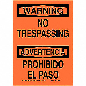 Bilingual Safety Sign,10 x 7In,Blk/Orng