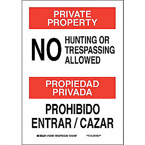 "Trespassing and Property, Private Property/Propiedad Privada, Aluminum, 10"" x 7"""