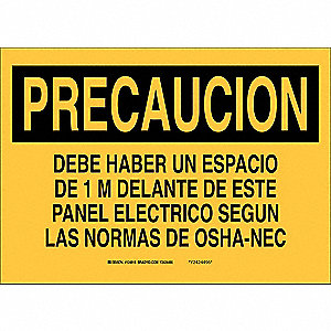 "Electrical Hazard, Precaucion, Plastic, 7"" x 10"", Not Retroreflective"