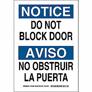 "Sign, Do Not Block Door, 10""x7"""