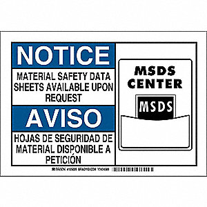 "SDS or Right to Know, Notice/Aviso, Aluminum, 10"" x 14"", With Mounting Holes, Not Retroreflective"