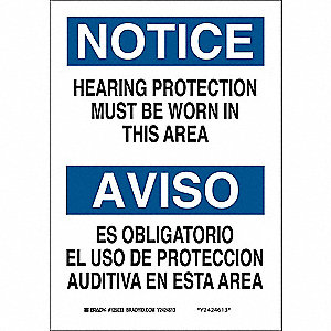 "Personal Protection, Notice/Aviso, Aluminum, 10"" x 7"", With Mounting Holes, Not Retroreflective"