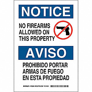 "Weapons, Devices or Substances, Notice/Aviso, Polyester, 14"" x 10"", Adhesive Surface"