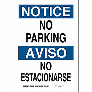"Parking, Notice/Aviso, Polyester, 10"" x 7"", Adhesive Surface, Not Retroreflective"