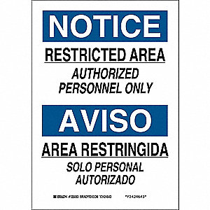 "Authorized Personnel and Restricted Access, Notice/Aviso, Polyester, 10"" x 7"", Adhesive Surface"