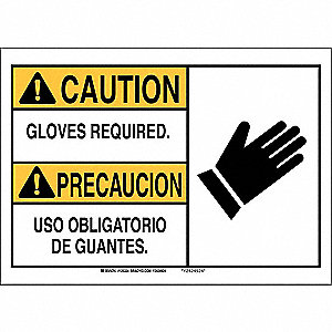 "Personal Protection, Caution/Precaucion, Plastic, 7"" x 10"", Not Retroreflective"