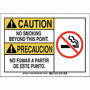 "No Smoking, Caution/Precaucion, Plastic, 10"" x 14"", With Mounting Holes, Not Retroreflective"