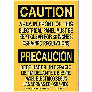 "Electrical Hazard, Caution/Precaucion, Aluminum, 14"" x 10"", With Mounting Holes, Not Retroreflective"