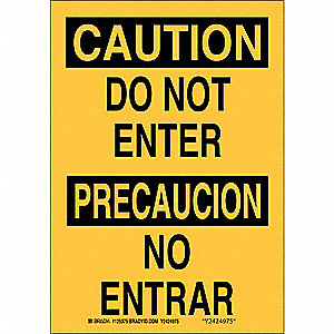 Bilingual Safety Sign,10 x 7In,Blck/Yllw