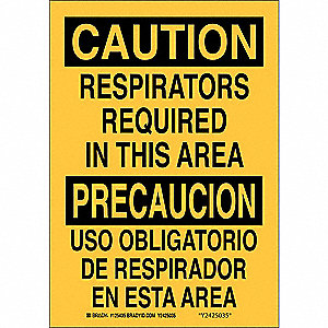 "Personal Protection, Caution/Precaucion, Aluminum, 14"" x 10"", With Mounting Holes"