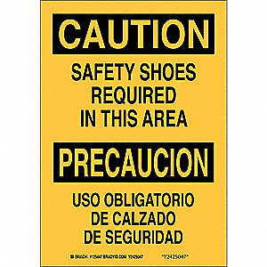 "Personal Protection, Caution/Precaucion, Plastic, 14"" x 10"", With Mounting Holes"