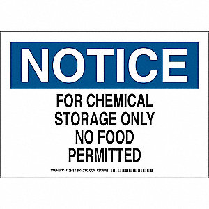 "Chemical, Gas or Hazardous Materials, Notice, Plastic, 10"" x 14"", With Mounting Holes"
