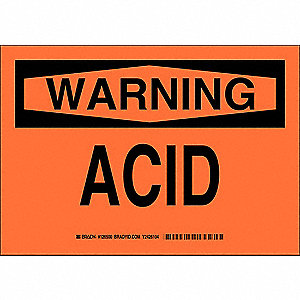 "Chemical, Gas or Hazardous Materials, Warning, Polyester, 10"" x 14"", Adhesive Surface"
