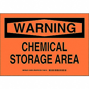 "Chemical, Gas or Hazardous Materials, Warning, Plastic, 10"" x 14"", With Mounting Holes"