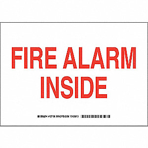 Fire Alarm Sign,7 x 10In,Red/White