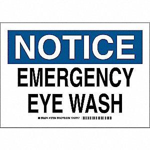 "Eyewash and Shower, Notice, Plastic, 10"" x 14"", With Mounting Holes, Not Retroreflective"