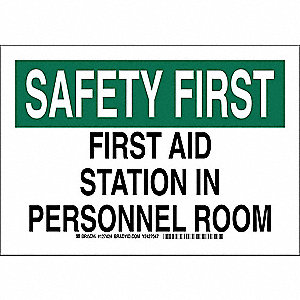 "First Aid, Safety First, Aluminum, 7"" x 10"", With Mounting Holes, Not Retroreflective"
