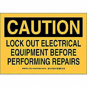"Lockout Tagout, Caution, Aluminum, 7"" x 10"", With Mounting Holes, Not Retroreflective"