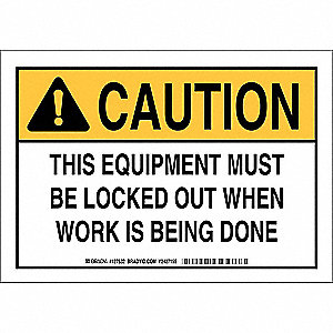 Caution Sign,7 x 10In,Black and Yllw/Wht