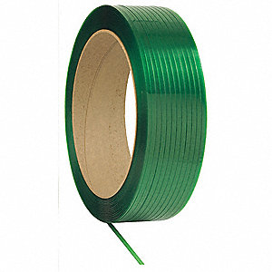 12,500 ft. Plastic Strapping with Embossed Finish, Green; Break Strength: 400 lb.