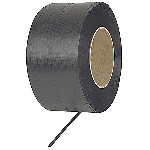 12,000 ft. Plastic Strapping with Embossed Finish, Black; Break Strength: 300 lb.