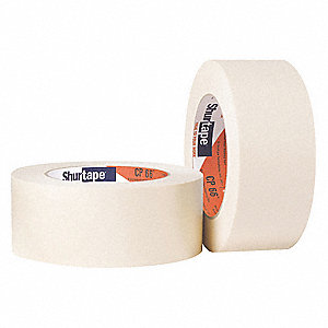 Paper Masking Tape, Rubber Tape Adhesive, 6.30 mil Thick, 18mm X 55m, Tan, 48 PK