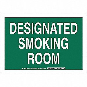 No Smoking Sign,7 x 10In,White/Green