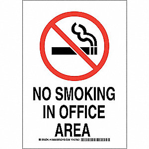 "No Smoking, No Header, Polyester, 14"" x 10"", Adhesive Surface, Not Retroreflective"