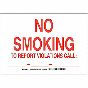 No Smoking Sign,10 x 14In,Red/White