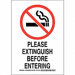 "No Smoking, No Header, Polyester, 10"" x 7"", Adhesive Surface, Not Retroreflective"