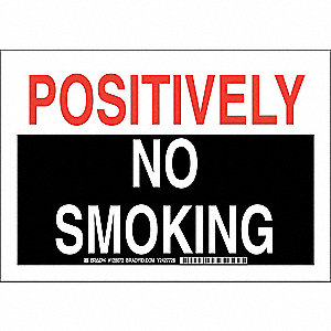 No Smoking Sign,7 x 10In,Blk and Rd/Wht