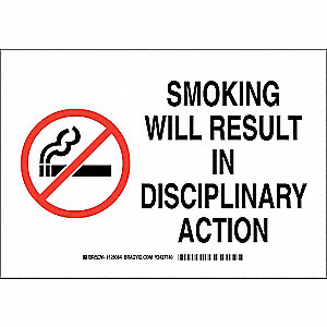 No Smoking Sign,10 x 14In,Blk and Rd/Wht