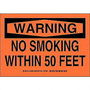 No Smoking Sign,7 x 10In,Black/Orange