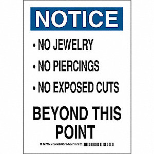 Notice Sign,14 x 10In,Blk and Ble/White