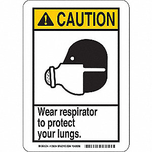 "Personal Protection, Caution, Plastic, 10"" x 7"", Not Retroreflective"