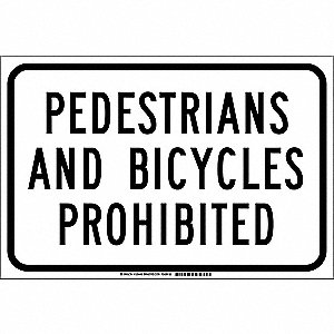 "Pedestrian Traffic, No Header, Polyester, 12"" x 18"", Adhesive Surface, Not Retroreflective"