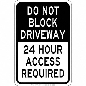 Traffic Sign,18 x 12In,Black/White