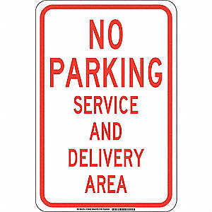 "Parking, No Parking, Plastic, 18"" x 12"", With Mounting Holes, Not Retroreflective"