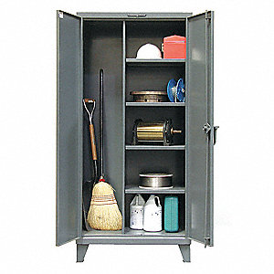 "Heavy Duty Storage Cabinet, Dark Gray, 78"" H X 72"" W X 24"" D, Assembled"