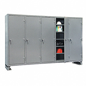 Multi-Shift Storage Cabinet, Gray, Assembled