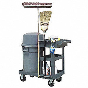 "Gray Janitorial Tool Caddy, 22""L x 36""W x 39""H, Number of Shelves: 3"