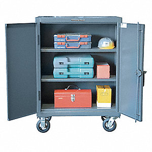 "Mobile Storage Cabinet, Dark Gray, 44"" Overall Height, Assembled"