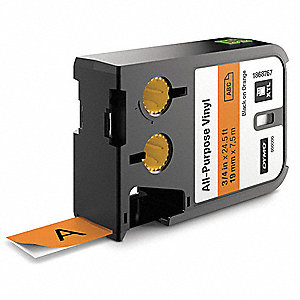 "Cartridge Label, Black/Orange, 3/4""W x 23 ft."