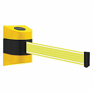 Retractable Belt Barrier, Yellow/White, None