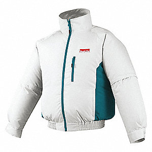 Cordless Fan Jacket,M,Polyester,White